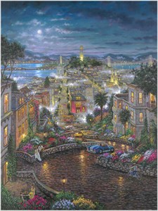 "Robert Finale Hand Signed and Numbered Limited Edition Hand-Embellished Giclee on Canvas:""Moonlight over Lombard"""