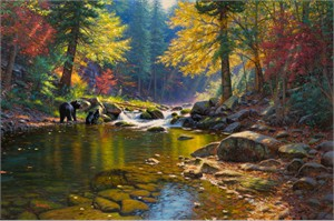 "Mark Keathley Hand Signed and Numbered Limited Edition Hand Embellished Giclee on Canvas:""Seasons of Life 2 - Spring Renewal"""""