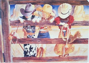 "Linda Loeschen Fine Art Open Edition Print: ""Hangin' On-Hangin"""