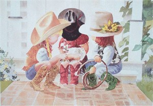 "Linda Loeschen Fine Art Open Edition Print: ""Little Buckle Bunnies"""