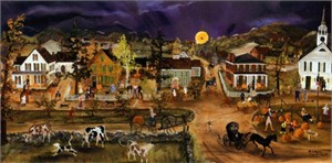 "Will Moses Handsigned & Numbered Limited Edition Lithograph : ""Pumpkins on the Green"""