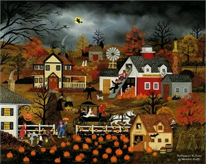"Jane Wooster Scott Handsigned and Numbererd Limited Edition Print:""Halloween Hi-Jinks"""