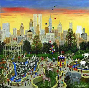 "Jane Wooster Scott Hand Signed and Numbered Limited Edition Lithograph:""Oasis In The Urban Jungle"""