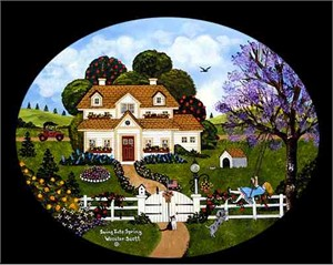 """Jane Wooster Scott Handsigned & Numbered Limited Edition Canvas Giclee:""""Swing Into Spring """""""