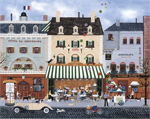 """Wooster Scott Hand Embellished Limited Edition Giclee on Canvas:""""Les Chiens De Paris"""""""