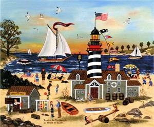 "Jane Wooster Scott Handsigned and Numbered  Limited Edition Print: ""Beacon on the Beach"""