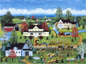 "Jane Wooster Scott Handsigned and Numbered Limited Edition Serigraph on Paper:""GOOD NEIGHBORS"""