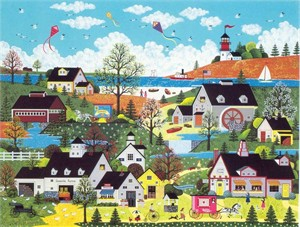 "Jane Wooster Scott Handsigned and Numbered Limited Edition Serigraph on Paper:""SUNDAY IN NEW ENGLAND"""