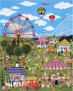 "Jane Wooster Scott Handsigned and Numbered Limited Edition Serigraph on Paper:""CARNIVAL TIME AT WILLOW BEND"""
