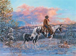 "Valeria Yost Open Edition Framed Print: ""Clearwater Country-Cowboy Print"""