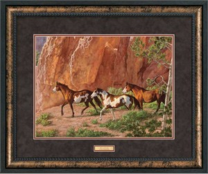 "Chris Cummings Open Edition Framed Print: ""Red Canyon-Horses Art Print"""