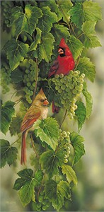"Rosemary Millette Hand Signed and Numbered Limited Edition Artist Proof Print: ""Vineyard - Cardinals"""