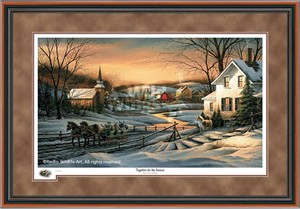 "Terry Redlin Walnut Framed 2016 Limited Edition Holiday Print:""Together for the Season"""
