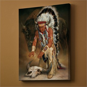"Russ Docken Open Edition Wrapped Canvas: ""In Honor � Native American Chief"""