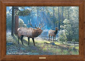 "Jim Kasper Limited Edition Framed Oversize Gallery Canvas:""Spirited Exchange – Elk"""