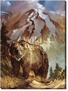 "Daryl Poulin Extra Large Gallery Wrap Canvas Giclee:""The Legend – Grizzly Bear"""