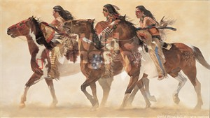"""Daryl Poulin Limited Edition Artist Proof Print:""""Heartbeats and Hoofbeats–Sioux Indians"""""""