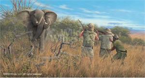 "Michael Sieve Limited Edition Premier Giclée Canvas:""Elephant Hunters"""
