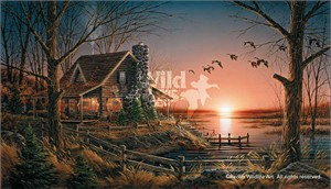 """Terry Redlin Handsigned and Numbered Limited Edition Legacy Canvas :""""Comforts of Home"""""""