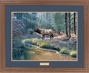 "Jim Kasper Framed Hand Signed and Numbered Limited Edition:""Crossing Bear Canyon-Elk"""