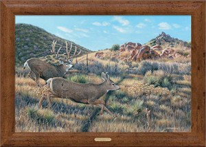 "Jim Kasper Signed and Numbered Oversize Framed Limited Edition Canvas:""In Pursuit – Mule Deer"""