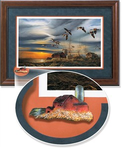 "Terry Redlin Framed Open Edition Cameo: ""Silent Sunset Encore II"""