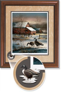 "Terry Redlin Framed Open Edition Cameo: ""Winter Haven Encore II"""