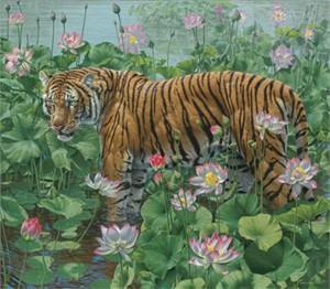 """Lee Kromschroeder Limited Edition Print: """"Lotus Position Tiger"""""""