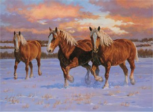 "Chris Cummings Limited Edition Print: ""Winter Gold -Belgians"""