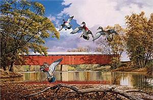 "David Maas Limited Edition Print: ""The Elden Bridge - Wood Ducks"""
