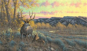 "Michael Sieve Hand Signed and Numbered Limited Edition Canvas Giclee: ""Nature's Plan-Whitetail Deer"""