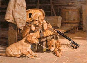 """Jim Lamb Limited Edition Print: """"The Experts-Goldens"""""""