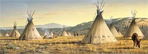 "Jim Hautman Limited Edition Canvas:""Lakota Village"""