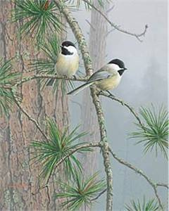 "Jim Hautman Limited Edition Print:""Red Pine and Chickadees"""