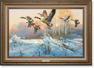 "Greg Messier Handsigned and Numbered Framed Oversize Canvas:""Late Departure-Canada Geese"""