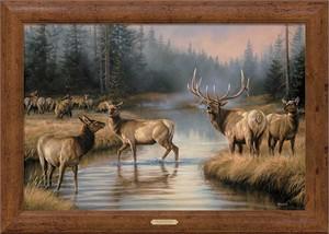 "Rosemary Millette Handsigned and Numbered Framed Oversize Canvas:""Autumn Mist-Elk Canvas"""