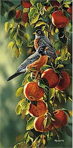 "Rosemary Millette Artist Original Remarque Edition Print:"" September Apples-Robins """