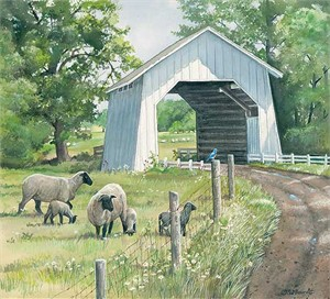 "Susan Bourdet Original Watercolor Painting:""Down the Lane-Sheep"""