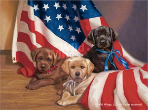 "Jim Lamb Original Oil Painting:""United We Stand-Lab Puppies"""