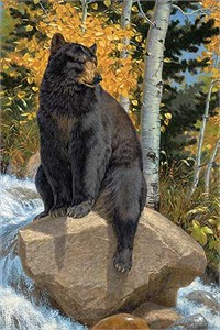"Lee Kromschroeder Hand Signed and Numbered Limited Edition Print: ""Paws That Refreshes-Black Bear (Paper)"""