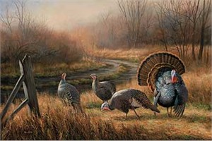 """Rosemary Millette Hand Signed and Numbered Limited Edition Print: """"Backwoods Rendezvous-Turkeys"""""""