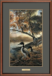 "Terry Redlin Deluxe Walnut Framed Print with Suede Mat : ""Hidden Point Loon """