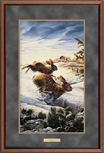 "Terry Redlin Deluxe Walnut Framed Print with Suede Mat : ""Hightailing Cottontail Rabbits"""