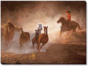 "Chris Cummings Oversized Gallery Wrap Canvas:""Evening Roundup – Cowboy"""