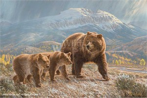 """Lee Kromschroeder Limited Edition Premier Giclée Canvas:""""Under the Sleeping Giant – Grizzly Bears"""""""