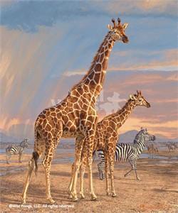 "Lee Kromschroeder Limited Edition Premier Giclée Canvas:""Mother's Vigilance – Giraffes"""