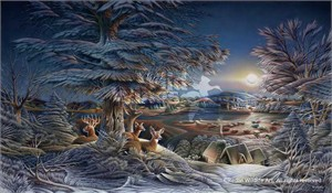 "Terry Redlin Handsigned and Numbered Limited Edition: ""Evening on the Ice"""