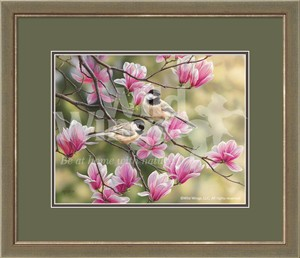 "Rosemary Millette Framed Open Edition Print:""Chickadees & Spring Magnolias"""
