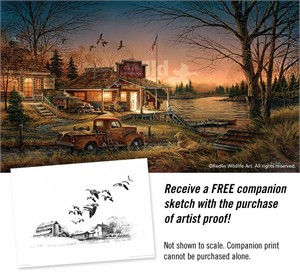 "Terry Redlin Hand Signed and Numbered Limited Edition Artist Proof Master Canvas:""Total Comfort"""