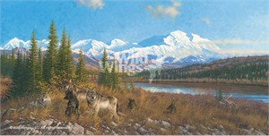 """Michael Sieve Handsigned and Numbered Limited Edition: """"Denali Six Pack – Wolves"""""""